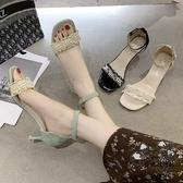 高跟鞋 小香風細跟少女高跟鞋2020夏季新款網紅珍珠一字帶涼鞋ins潮女鞋 VK1336