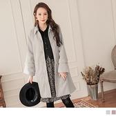 《EA3052》柔美純色毛呢質感排釦綁帶長版大衣/外套 OrangeBear