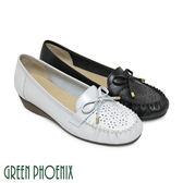 U33-2243A 女款全真皮莫卡辛鞋  質感蝴蝶結雷射雕花全真皮小坡跟莫卡辛鞋【GREEN PHOENIX】