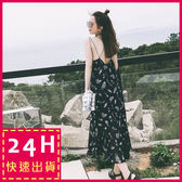 梨卡 - 夏日度假沙灘印花雪紡顯瘦連身裙連身長裙沙灘裙洋裝C6264