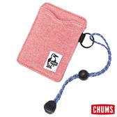 CHUMS 日本 Sweat 可扣式 雙層證件票卡夾/悠遊卡夾 蘋果粉 CH6009212619