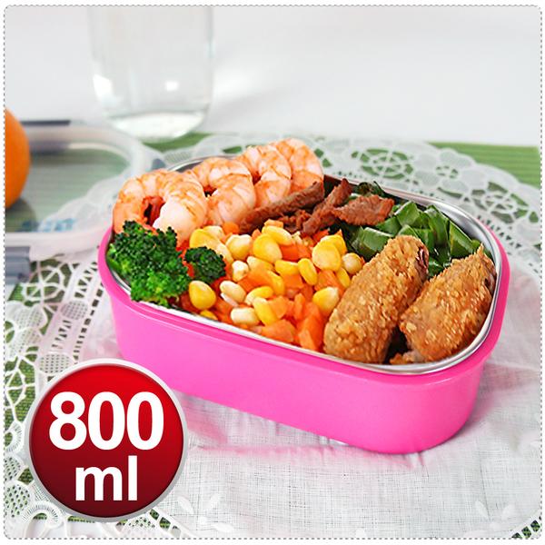 【馬卡長方型保鮮隔熱餐盒800cc】餐具 304不鏽鋼 碗 兩色可選 KL-B1913 [百貨通]