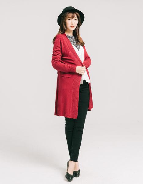 優雅美感下擺顯瘦針織外套-紅-F-KatieQ