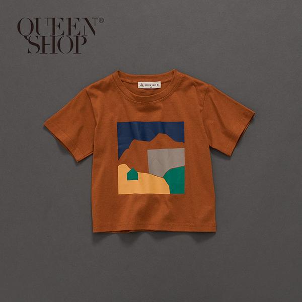Queen Shop【01037672】童裝 親子系列色彩幾何印花短T S/M/L*現+預*