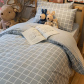 韓系歐巴格紋 D2雙人床包雙人被套四件組 100%復古純棉 台灣製造 棉床本舖