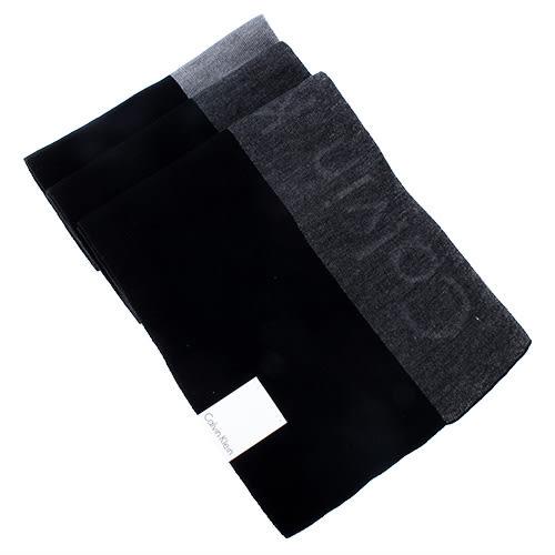 Calvin Klein CK新款拼色浮雕LOGO圍巾(黑色)103218