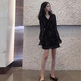 2019流行裙子很仙的法式復古裙超仙森系智熏桔梗碎花雪紡連衣裙秋 時尚芭莎