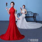 收腰魚尾婚紗禮服新娘婚紗魚尾晚禮服大紅色婚紗一字肩婚修身   草莓妞妞