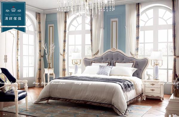 【新竹清祥傢俱】EBB-06BB15B 小英式古典五呎床架 輕奢 鋼琴烤漆 雙人床架 牛皮 臥室 民宿