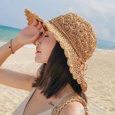 草帽女夏天海邊出游韓版百搭遮臉遮陽帽沙灘帽子大帽檐防曬太陽帽 依凡卡時尚
