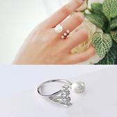 Quenby 帥性風星星相連珍珠鋯石開口食指中指戒指