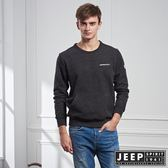 【JEEP】斑駁刷色刷毛口袋長袖TEE (黑)