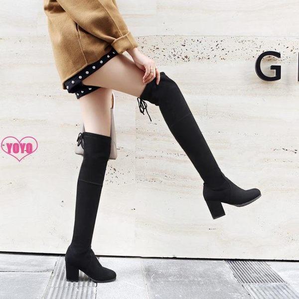過膝靴 長靴 過膝 粗跟 瘦瘦靴 長筒靴 彈力靴 女靴子