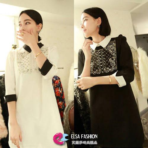 *艾爾莎*【TAE0018】巴爾曼風珠珠點綴拼接襯領連身裙洋裝