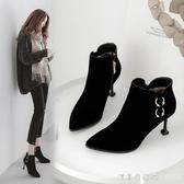貓跟鞋2019秋冬新款細跟短靴女高跟尖頭裸靴加絨冬靴顯腳小馬丁靴 漾美眉韓衣