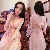 春夏新款韓版氣質女裝V領低胸修身蕾絲性感漏背洋裝打底裙 卡布奇诺