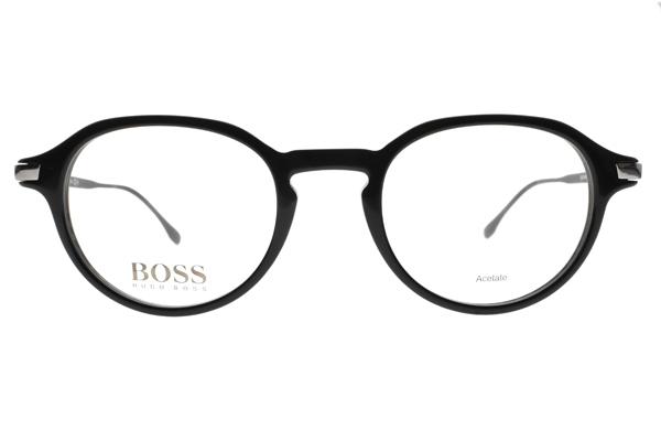 HUGO BOSS 光學眼鏡 HB0988 807 (黑) 不鏽鋼LOGO圓膠框 # 金橘眼鏡