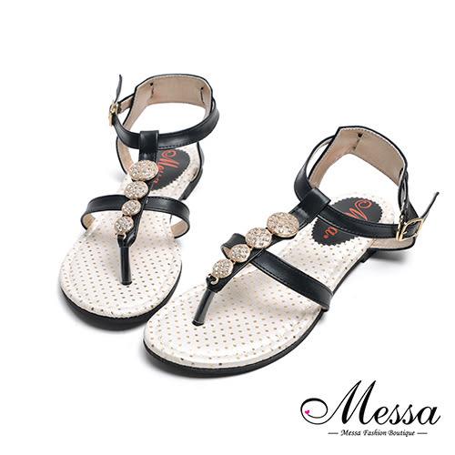【Messa米莎專櫃女鞋】MIT金屬水鑽一字繫踝平底涼鞋-黑色
