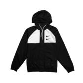 NIKE NSW SWOOSH JKT HD WVN 黑白 似OFF-WHITE 連帽 風衣 雙勾 男 (布魯克林) CJ4889-011