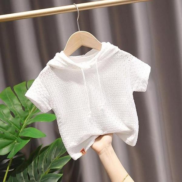 兒童短袖T恤童裝2021夏裝洋氣寶寶半袖衫男童連帽上衣韓版女童潮 幸福第一站