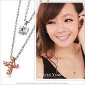 項鍊 送刻字 正白K飾「氣質女孩」雙鍊 皇冠/玫金十字架 附鋼鍊