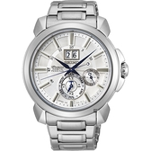 SEIKO 精工Premier人動電能萬年曆手錶-銀色/43mm 7D56-0AG0S(SNP159J1)