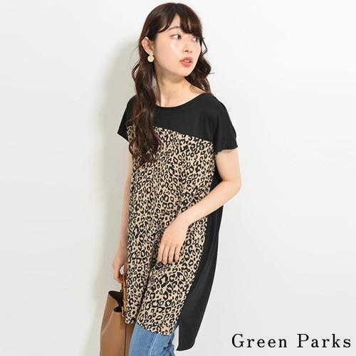 ❖ Hot item ❖ 拼接豹紋長版上衣 - Green Parks