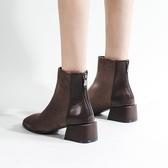短靴 復古中跟方跟後拉鍊女靴子