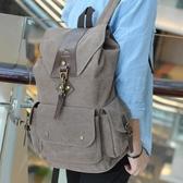 帆布雙肩包男士英倫復古抽帶搭扣簡約休閒學生書包大容量旅行背包