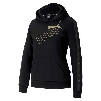 Puma 黑色 棉質 長袖連帽 T恤 女款 NO.H3216【新竹皇家 58361551】