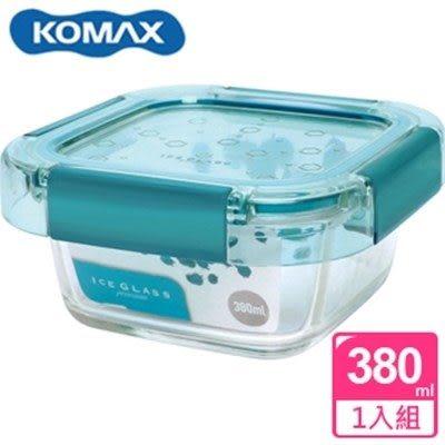 新一代 KOMAX 冰鑽方形強化玻璃保鮮盒 綠 380ml(60045)【AE02272】