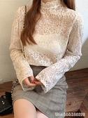 蕾絲打底衫 公主風蕾絲打底衫女網紗超仙洋氣秋冬半高領長袖內搭小衫上衣 瑪麗蘇