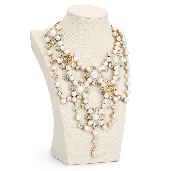 項鍊 Necklace 宴會 婚禮 銅鍍14K金 貝殼珠 施華洛世奇水鑽