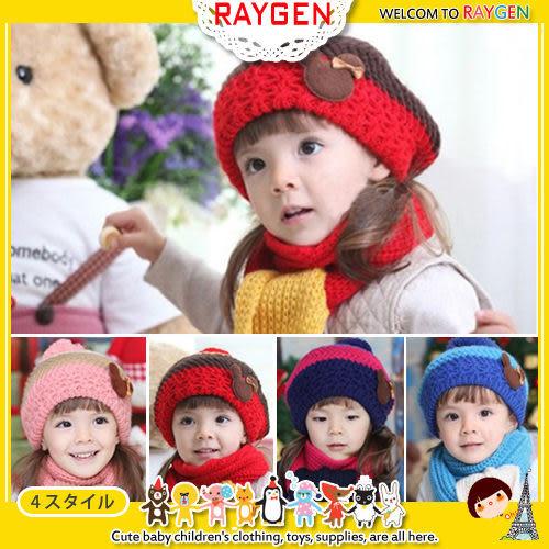 帽-小熊 蝴蝶結 針織 毛線 毛球 圍巾 護耳帽