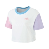 Nike 短袖T恤 NSW Tee 彩色 白 女款 短T 拼接 圓領 棉質 【ACS】 BV7156-100