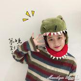 日系卡通毛絨原宿拍攝道具帽子少女可愛賣萌搞怪鯊魚恐龍頭套帽子  瑪麗蓮安