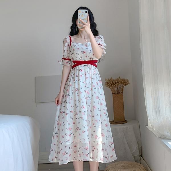 法式優雅氣質復古碎花長裙短袖洋裝