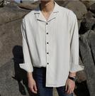 找到自己品牌 時尚潮流 男 寬鬆 清新 氣質 絲滑 條紋長袖襯衫 條紋襯衫外套