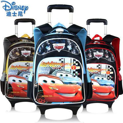 迪士尼小學生拉桿書包男童1-3-4年級汽車卡通手拉兒童書包可拆卸