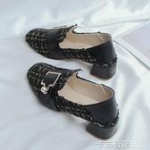 單鞋女新款法式小清新高跟鞋少女粗跟中跟仙女小香風晚晚溫柔 聖誕節全館免運