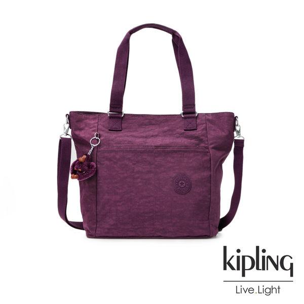 Kipling深紫素面手提側背包(大)