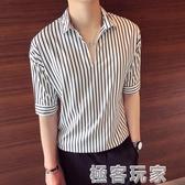 短袖襯衫 夏季寬鬆條紋襯衫短袖t恤男韓版潮流5五分袖7七分體恤男士半截袖 極客玩家