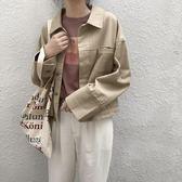 ins外套 DA32韓風chic秋季新款翻領金屬扣寬鬆落肩牛仔純色短外套女 聖誕免運