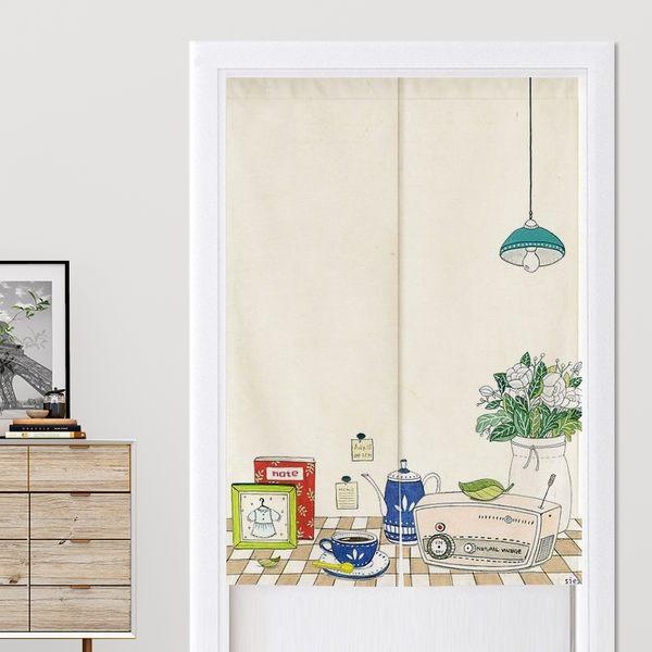 可愛時尚棉麻門簾E149 廚房半簾 咖啡簾 窗幔簾 穿杆簾 風水簾 (70寬*130cm高)