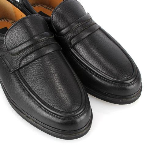 BURBERRY英倫紳士荔枝紋鹿皮樂福鞋(黑色)087136