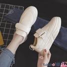 熱賣魔術貼鞋 魔術貼皮面小白鞋女2021春季新款韓版學生百搭厚底潮街拍板鞋 coco