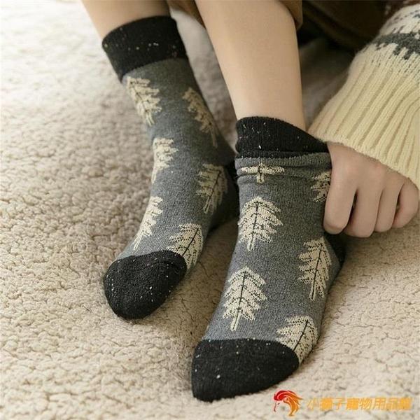 加厚中筒襪子女楓葉保暖羊毛復古堆堆襪圣誕長襪【小獅子】