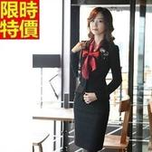 西裝套裝(長袖裙裝)-上班族商務氣質修身端莊OL制服66x42【巴黎精品】