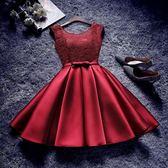 伴娘禮服 宴會服紅色姐妹裙伴娘團連衣裙新娘服短款顯瘦畢業服 DN5031【野之旅】