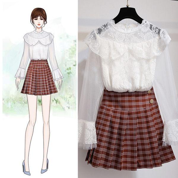 VK旗艦店 韓系氣質蕾絲格紋百褶裙套裝長袖裙裝